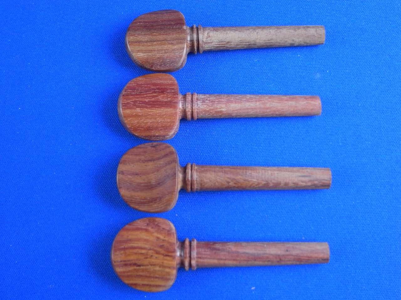 画像1: バイオリン ペグ 紫檀(ローズウッド)材 パリジャンアイ装飾4本セット