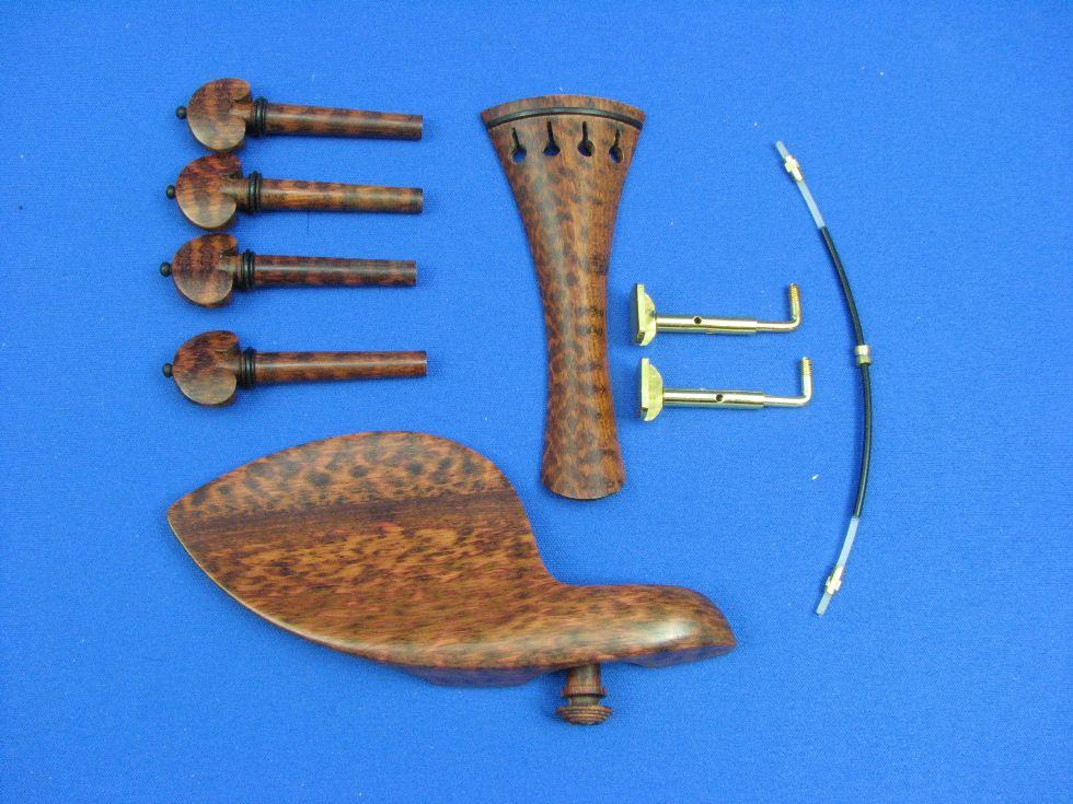 画像1: バイオリンフィッティング(ペグ・テールピース・顎当て)スネークウッド材 フレンチ・モデル